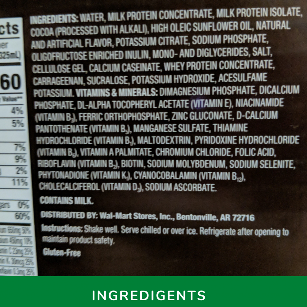 Equate Whey Protein Ingredients